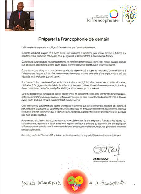 Lettre Abdou Diouf Journée de la Francophonie le 20 mars 2010